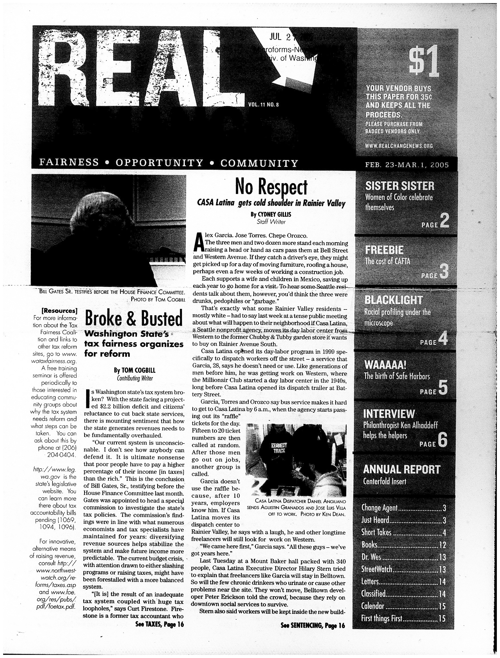 Table of Contents Feb 23, 2005 with pictures of entire issue