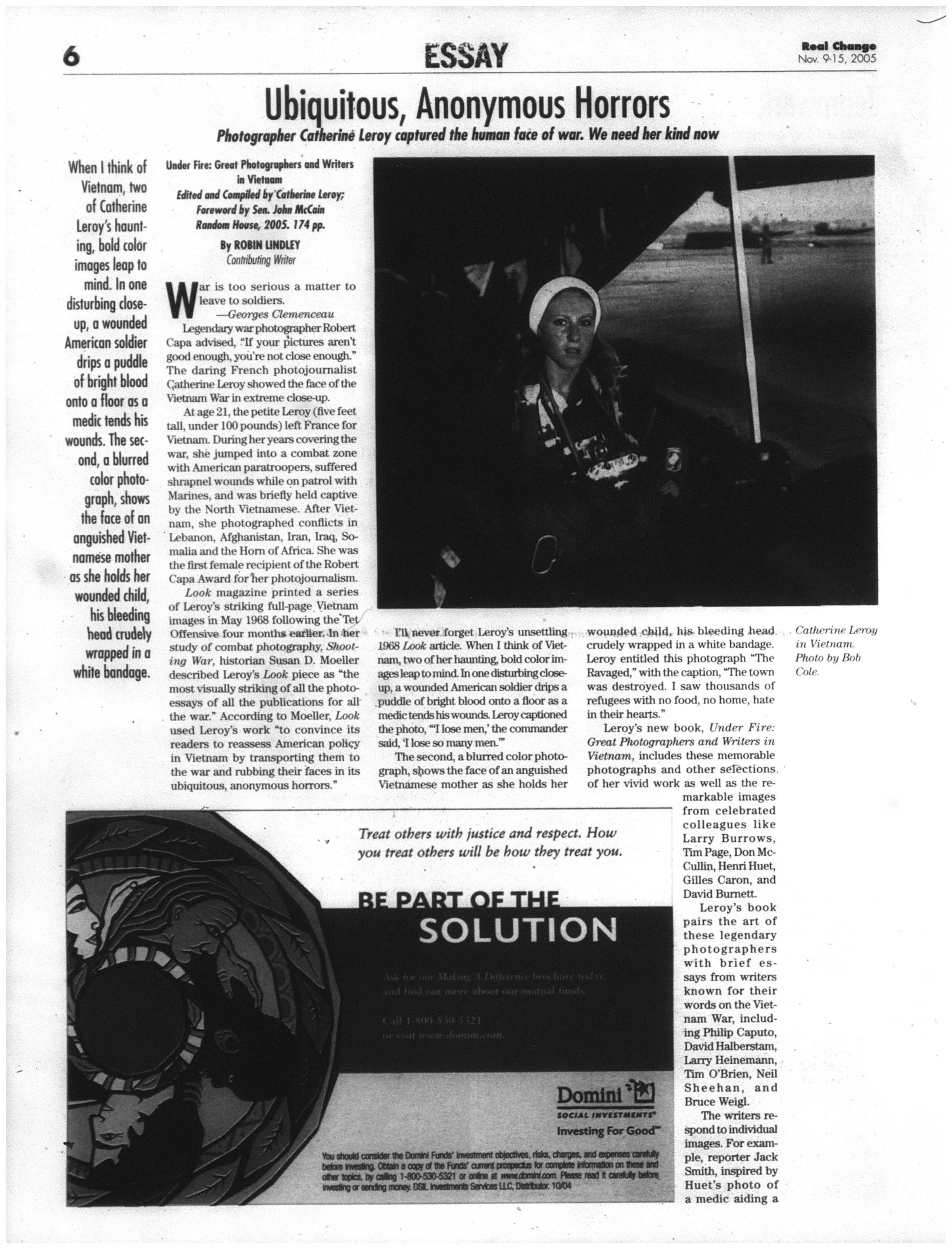 Ubiquitous, Anonymous Horrors  | November 9, 2005 | Real Change