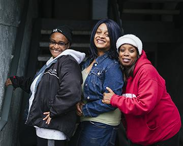 Michelle Dozier, Toya Thomas & E.J. James and their families face eviction from their apartments because the management at Renton Woods Apartments no longer wants to accept Section 8 vouchers, which cover the majority of their rent. Photo by Andrew Waits