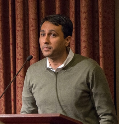 Eboo Patel, founder and president of Interfaith Youth Core, giving a lecture at Roanoke College in February 2013.