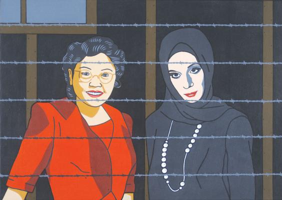 """American Citizens,"" 2015, lithograph by Roger Shimomura"