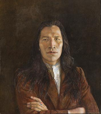 """Nogeeshik,"" 1972, Andrew Wyeth, tempera on hardboard panel"