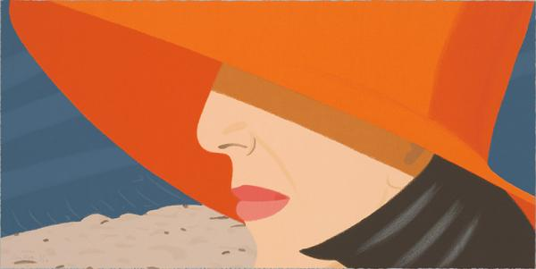 """Alex and Ada, the 1960's to the 1980's: Orange Hat"" by Alex Katz, 1990, screenprint, 18 x 36 in. Art © Alex Katz/Licensed by VAGA, New York, NY"