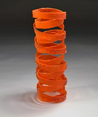 "Rei Chikaoka's ""Updraft,"" kilncast glass, metal, 2015"