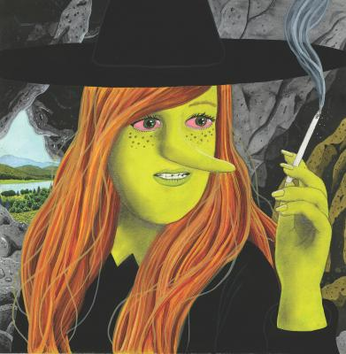 "Megg smokes a cigarette on the cover of ""Bad Gateway,"" Simon Hanselmann's latest graphic novel that will be released in July. © Simon Hanselmann, 2019"