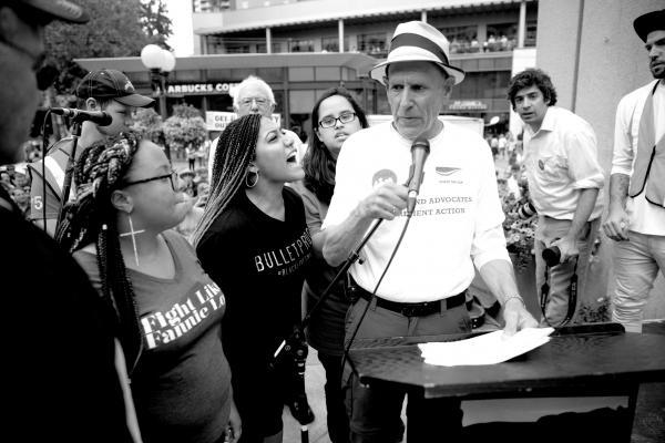 Local activists Mara Jacqueline Willaford and Marissa Jenae Johnson brought Bernie Sanders' speech to a halt Aug. 8