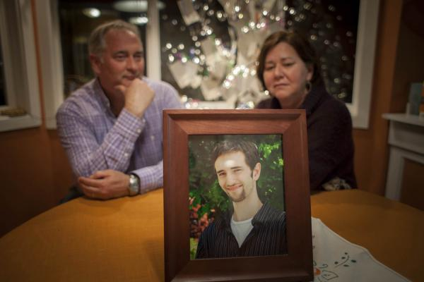 A portrait of Chad Crooks sits on a table at Todd and Laura Crooks' West Seattle home. After Chad lost his battle with schizophrenia, his parents started Chad's Legacy Project. Photo by Ngoc Tran