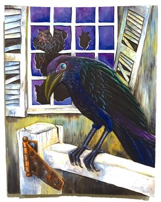 """The Foot Warmer and the Crow"" illustration, acrylic on wood, 1994"