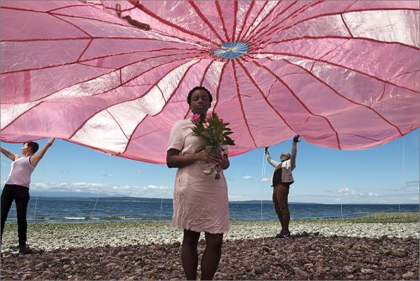 """Jane with Open Pink Parachute"" (Lexical Tutor series), giclée print, 2018 by C. Davida Ingram."