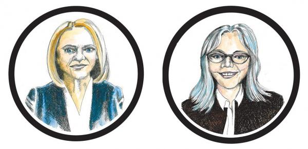 Jenny Durkan (left) Cary Moon (right). Illustration by Jon Williams