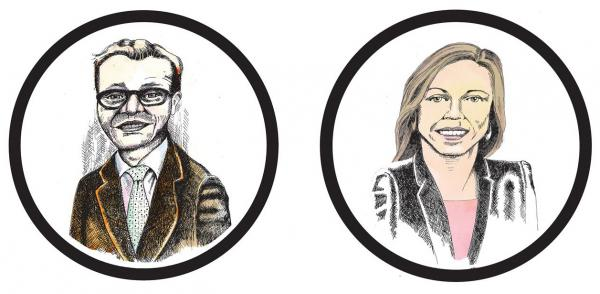 Jon Grant (left) Teresa Mosqueda (right). Illustration by Jon Williams