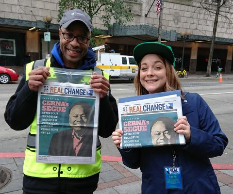 In 2018 writer and Real Change columnist Hanna Brooks Olsen sold the paper alongside vendor Glenn Walker. Photo by Lisa Edge