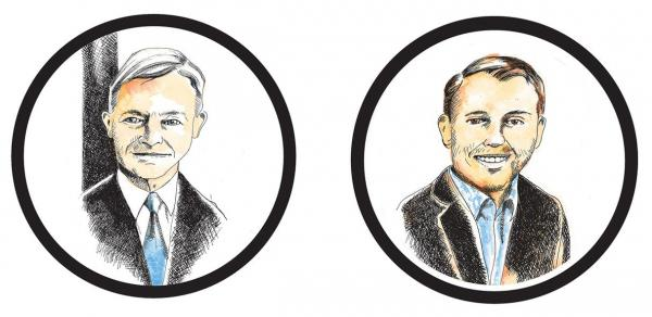 Pete Holmes (left) Scott Lindsay (right). Illustration by Jon Williams