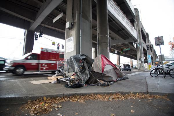 Just a few weeks ago, camps along Alaskan Way were swept. Already they are back. There are only so many places for people to go. Photo by Matthew S. Browning