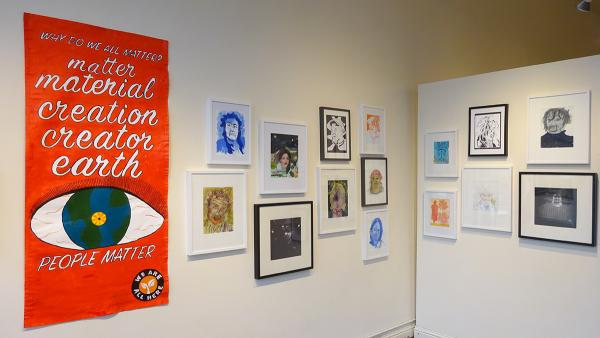 """Path With Art's show """"Housing is a Human Right"""" is on display at Columbia City Gallery until May 14. Photo by Lisa Edge, Real Change"""