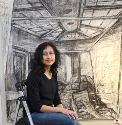 Shruti Ghatak took up painting fulltime after emigrating from India. Photo by Dave Parish