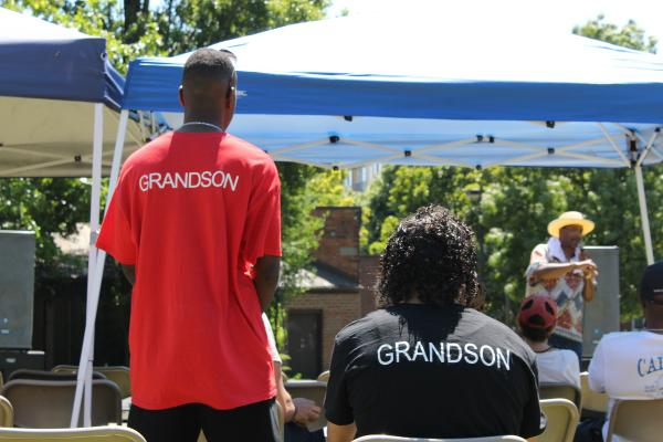 Community members celebrated Juneteenth in Pratt Park over the weekend with art, performances and food. It was the first year without DeCharlene Williams, a pillar of the community who passed away in May. Her immediate family came in T-shirts designed in