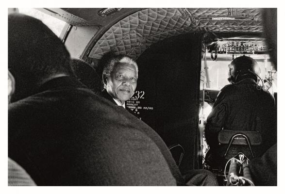 Mandela, 1995, leaving the grounds of Genadendal in his official helicopter. Photo by Keith Bernstein