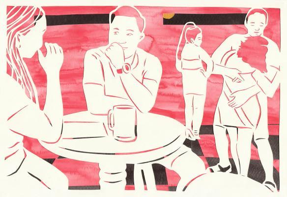 """The Moon of the Pleasure Quarters,"" by Lauren Iida, hand-cut paper, sumi ink, watercolor, acrylic"