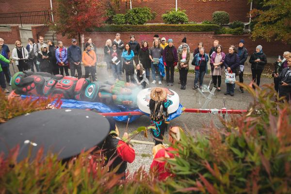 "More than 100 people attend the Lummi Nation's ""Kwel'hoy Totem Pole Journey"" stop in Seattle. Photo by Matthew S. Browning"