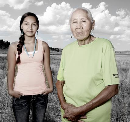 Sharlyce (left) and Jennie Parker, Northern Cheyenne, 2014. Jennie credits physical therapy, prayer and her granddaughter Jennie with helping her recover from a stroke. Photo by Matika Wilbur