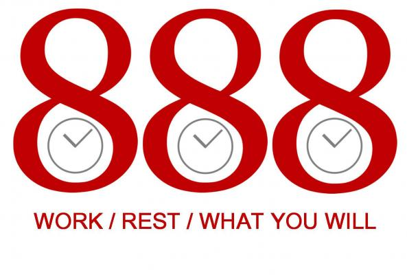 "One of the central slogans of the original May Day movement is ""8 hours for work, 8 hours for rest, 8 hours for what you will."" Graphic by Lisa Edge"