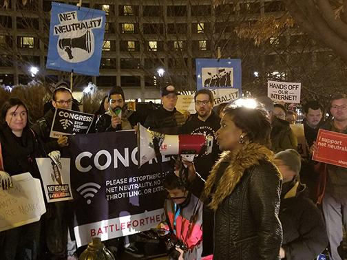 Mignon Clyburn speaks to a crowd protesting the rollback of net neutrality. Clyburn was one of two on the five-member commission to oppose the rollback. Photo courtesy Mignon Clyburn