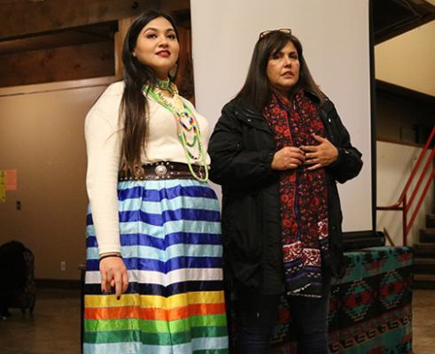 Marita Growing Thunder and her mother Shannon Ahhaitty at a screening of a film about Growing Thunder created by Luana Ross and Daniel Hart. Photo by Lyndsey Brollini