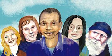 Real Change vendors, from left, Anna Gibson, Serah Burnham, Donald Morehead, Sabina Lopez and Larry Brinegar. Illustration by Jon Williams