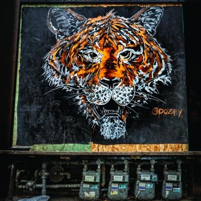 A Dozfy mural that adorns Rudy's Barbershop on Ballard Avenue.