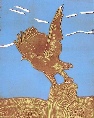 """Birds & Nature,"" linocut at Path With Art."