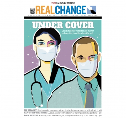 Four Issaquah, Washington, students united to provide protective equipment for health care workers who are on the frontlines of the pandemic. See the story on page 6. Illustration by Jon Williams.