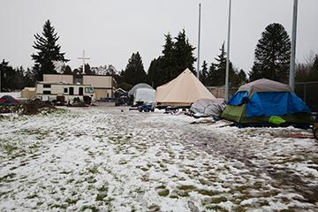 Riverton Park United Methodist Church currently hosts small houses and tent encampments for the homeless. Photo by Matthew S. Browning