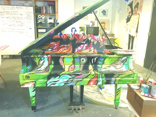 The grand piano designed by Seattle artist Angelina Villalobos was placed at Alki Beach.