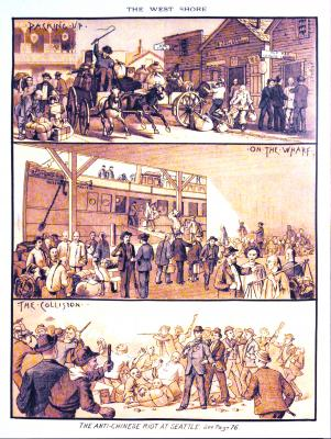 """Artist's conception of the 1886 anti-Chinese riot in Seattle. The three panels are entitled, respectively, """"Packing up,"""" """"On the Wharf"""" and """"The Collision."""""""