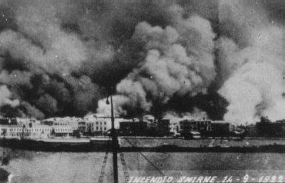 Smoke rises from the city of Smyrna in 1922.