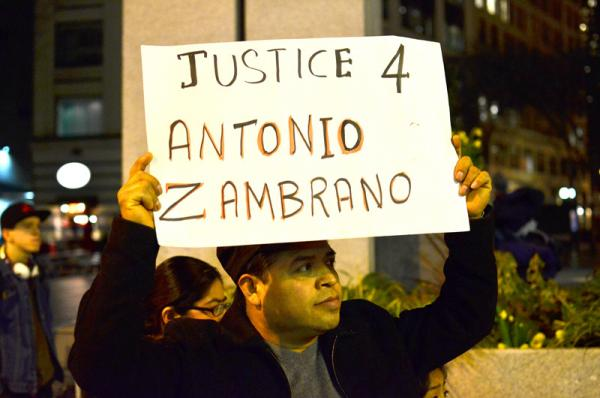 Protest on behalf of the shooting death of Antonio Zambrano-Montes