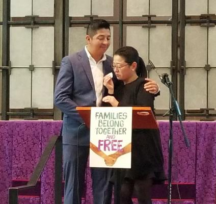 Jaime Rubio Sulficio stands at the dais of St. Mark's Episcopal Cathedral with his wife, Keiko Maruyama. Threatened with deportation, Sulficio decided to accept sanctuary at the cathedral while he explores legal options to stay in the country. Photo by As
