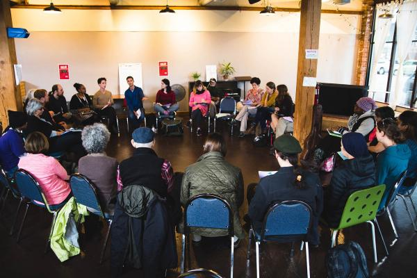 """The Affordable Housing Alliance holds a """"Stop The Sweeps"""" meeting at the Hillman City Collaboratory Oct. 7. Photos by Matthew S. Browning"""