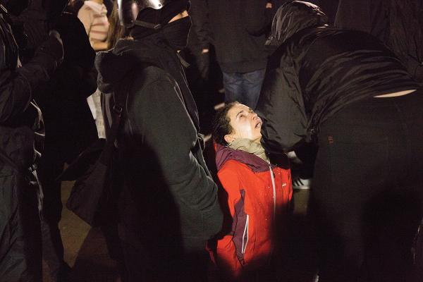 A pepper-sprayed protester in Red Square during the protest of Milo Yiannopoulos at UW. Photo by Lauren Kelly