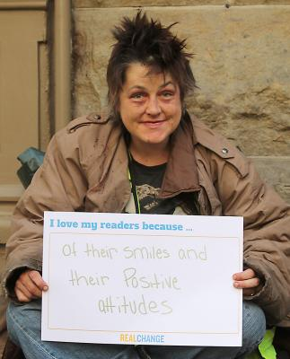 """Dani Wyatt sold Real Change on the corner of First Avenue & Marion Street. """"Even when I'm feeling down, they brighten up my day by smiling at me,"""" she said earlier this year. Photo by Jon Williams"""