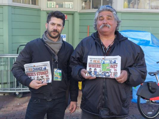 Comedian Brett Hamil sold papers with Art Ermeloff during Vendor Week. Photo by Jeff Few