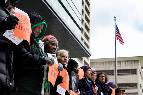 Members of Women in Black stand vigil in downtown Seattle. Photo by Wes Sauer