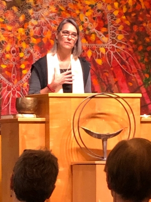 Rev. Cecilia Kingman of the Edmonds Unitarian Universalist Congregation talks with Real Change Contributor Martha Baskin about ongoing concerns for after the 2020 presidential election and how people can protect U.S. democracy. Photo courtesy of Edmonds U