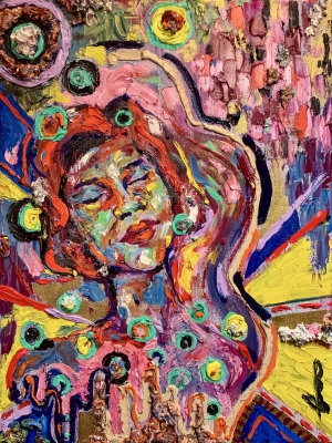 """AshaAung Helmstetter's bold style includes heavy, vibrant colors, as shown in her 2021 self portrait, titled """"Music Lover."""""""