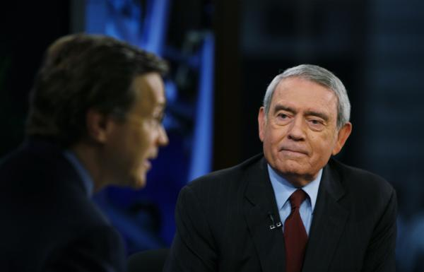 "Television journalist Dan Rather, right, addresses his views on the state of TV news on the Fox News Channel show, ""Your World,"" with David Asman in New York in 2007"
