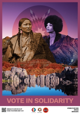 Pretty Nose (Arapaho) and Angela Davis, artwork by Mer Young.