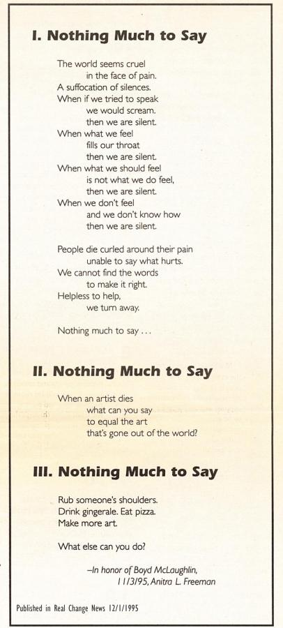 Poem Nothing Much to Lose by Anitra Freeman