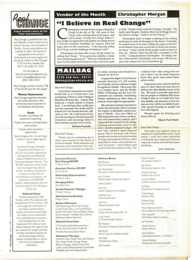 Table of Contents Apr 1, 1999 with pictures of entire issue