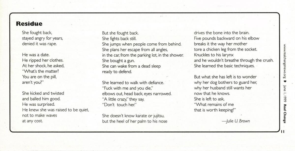 Poetry Jun 1, 1999 | June 1, 1999 | Real Change